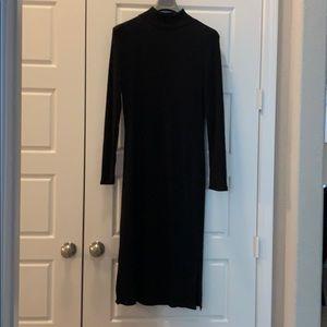 Black Knit Ribbed Dress